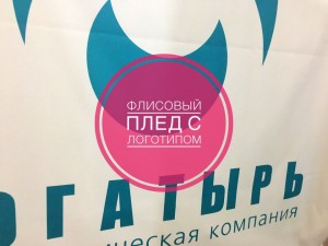 флисовый плед с логотипом компании